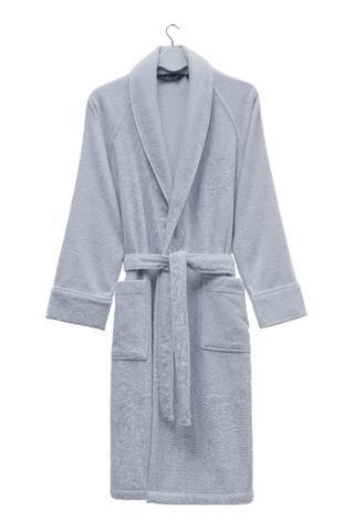 Мужской махровый банный халат DELUXE голубой