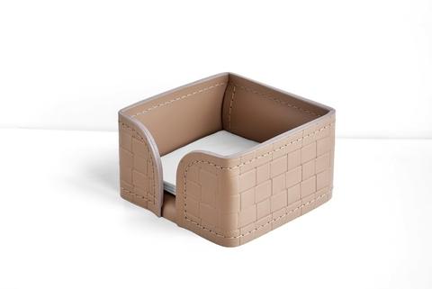 Лоток для блока бумаги из кожи цвет TRECCIA/CAFE LATTE