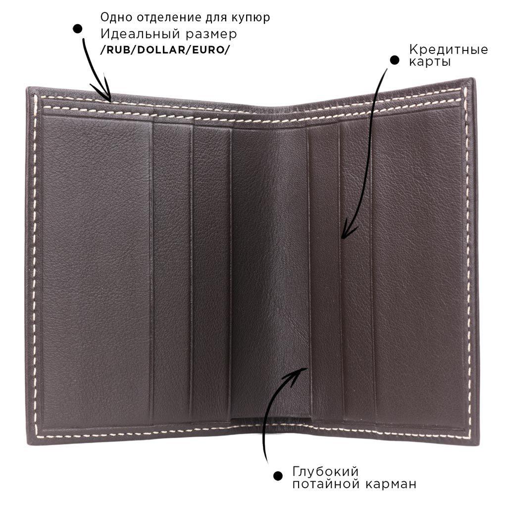 Кошелек-портмоне Carre-Line Easy из натуральной кожи теленка, темно-коричневого цвета
