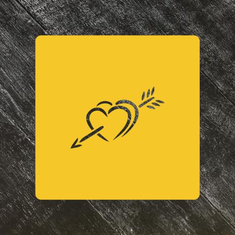 Трафарет любовь №9 Сердца со стрелой