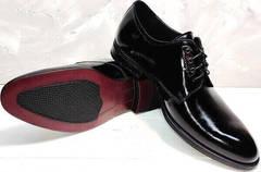 Лаковые мужские туфли дерби Ikoc 2118-6 Patent Black Leather