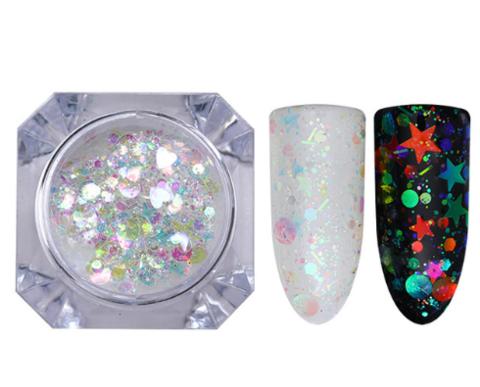 Голографический дизайн для ногтей Звёзды AB 40933-2