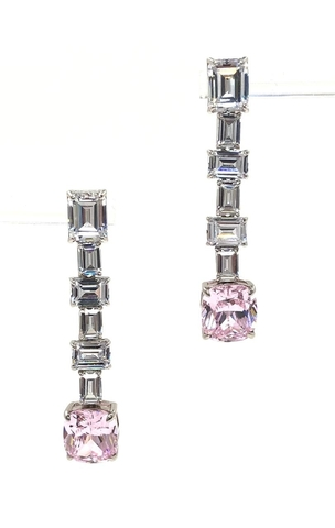 89065 - Серьги длинные из серебра с розовым кварцем