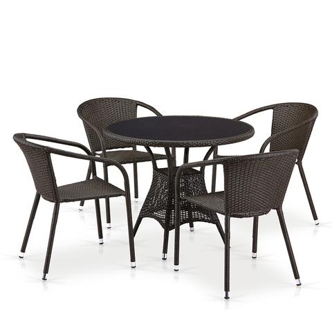 Комплект плетеной мебели T197ANS-W53/Y137C-W53 Brown 4Pcs