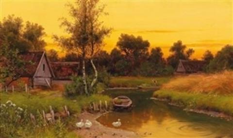 Картина раскраска по номерам 40x50 Закат в деревне