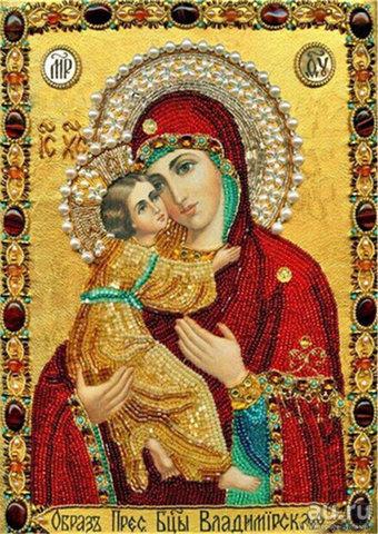 Алмазная Мозаика 40x50 Владимирская Икона Божией Матери (арт. BOS75209)