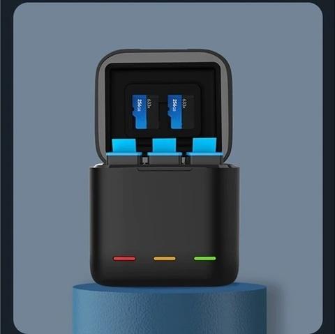Зарядное устройство для аккумуляторов TELESIN для 3х АКБ + 3 АКБ для GoPro Hero 9 (GP-BNC-902)