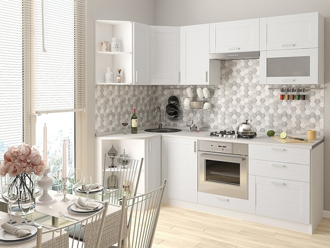 Кухня Лофт-2 белый, snow veralinga