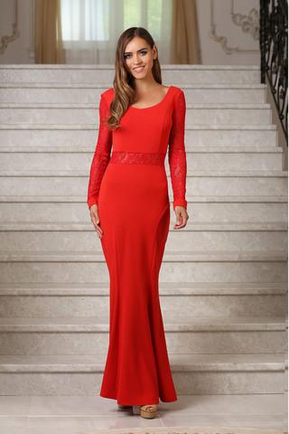 Вечернее платье в пол с кружевом, красное