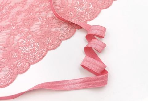 Бейка эластичная с блеском, 15мм, фламинго, (Арт: TB205/15B-026)