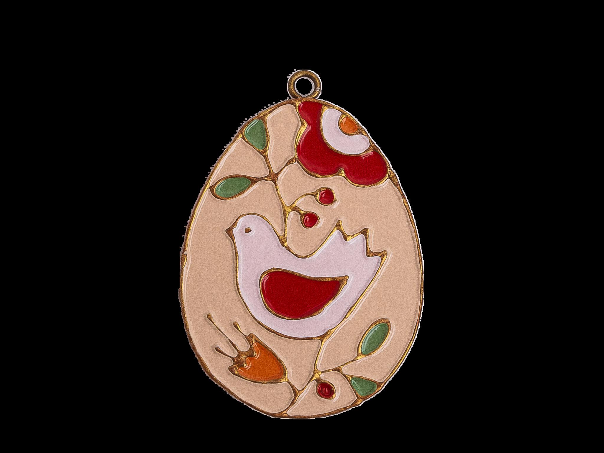 Пасхальное украшение Яйцо с Птицей, цвет: бежевый