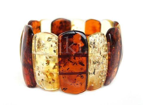 высокий двухцветный браслет из натурального янтаря_фото