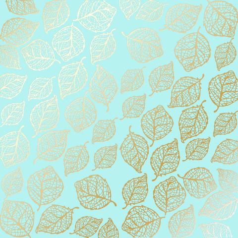 Лист односторонней бумаги с фольгированием Golden Delicate Leaves Turquoise 30,5х30,5 см