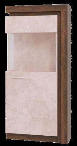 Шкаф-витрина Люмен 01 Ижмебель лагос/камень светлый