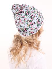 Детская шапочка бини с принтом Розы на мятном фоне