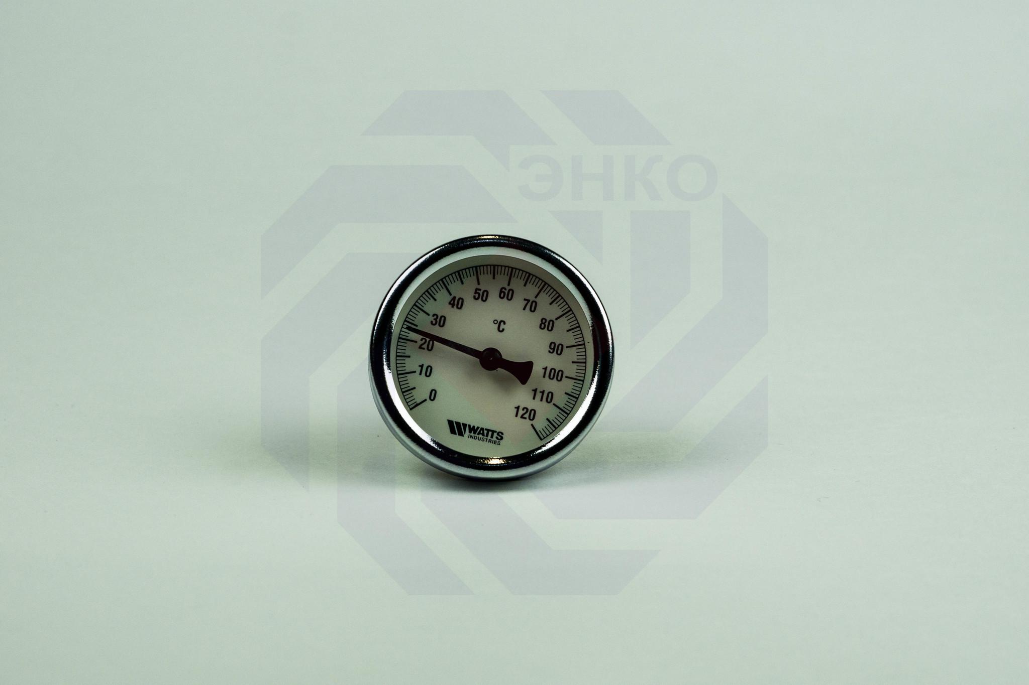 Термометр биметаллический аксиальный WATTS F+R801 SD 0-120 °С 63 мм ½