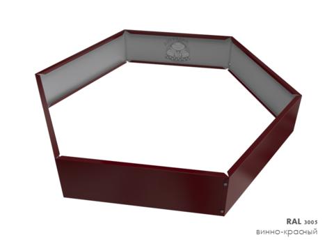 Клумба многоугольная оцинкованная 1 ярус RAL 3005 Винно-красный