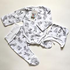 Mini Fox. Комплект для новорожденных швами наружу 3 предмета, зайцы серые