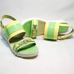 Сандалии женские кожаные без каблука натуральная кожа Crisma 784 Yellow Green.