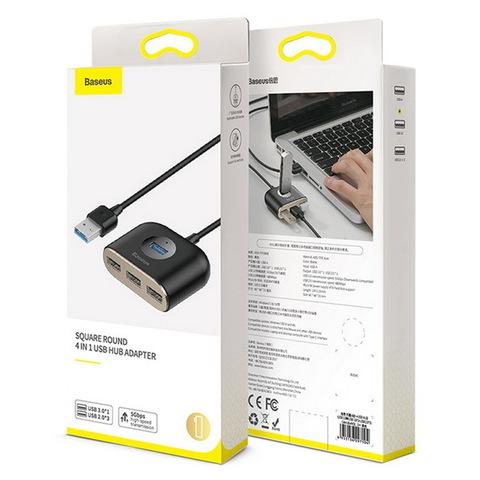 Концентратор USB-HUB Baseus Square Round 1xUSB 3.0 + 3xUSB 2.0 (microUSB up 4TB), (CAHUB-AY01) black