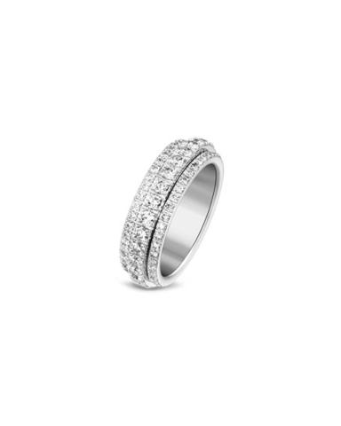 10788- Узкое кольцо-дорожка  из серебра с крутящейся серединой в обсыпке из цирконов