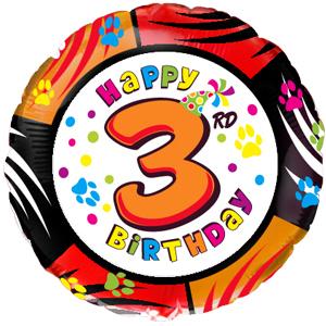 Фольгированный шар С днем рождения Цифра 3 18