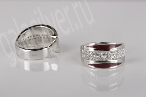Серьги с эмалью и цирконами из серебра 925