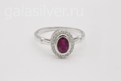 Кольцо с рубином и фианитами из серебра 925