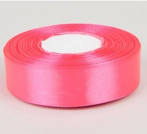 Лента атласная (размер 25 мм х 30 м) Цвет: ярко-розовая