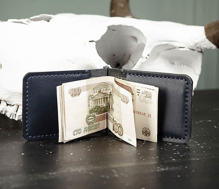 WB178-3 Зажим для денег ручной работы из синей кожи фото 07