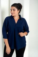 Айріс. Жіноча блуза великих розмірів. Синій
