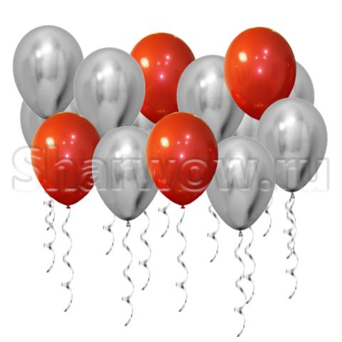 Воздушные шары под потолок Серебро хром и зеркальный красный