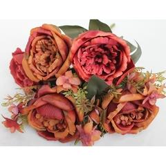 Розы искусственные крупные пионовидные, букет 9 веток, 34 см.