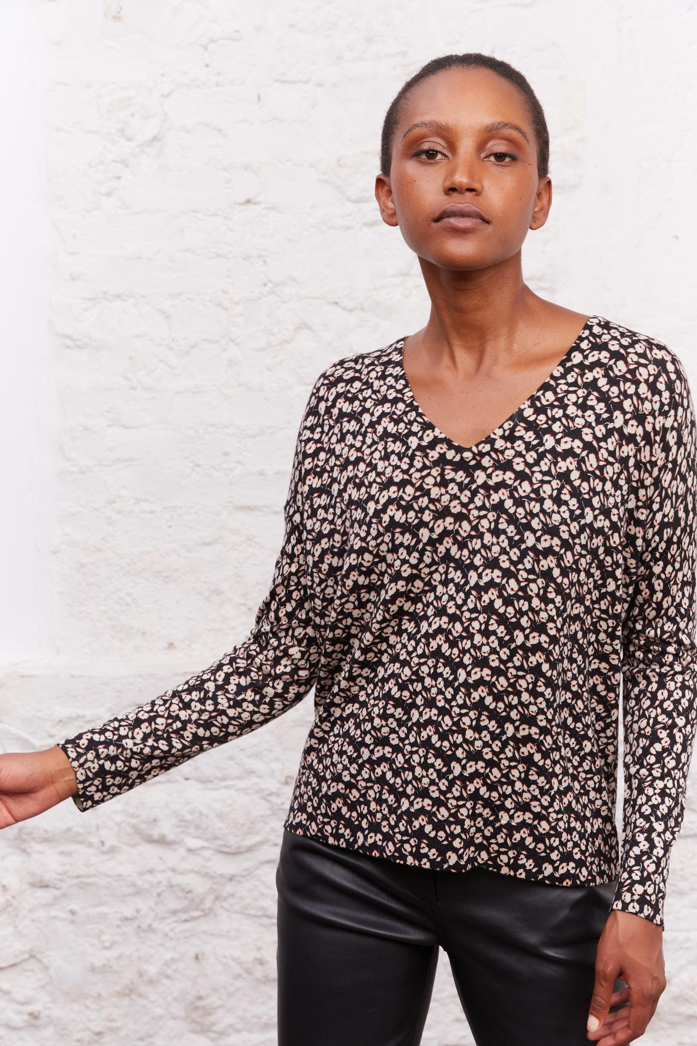 Шерстяной пуловер с принтом