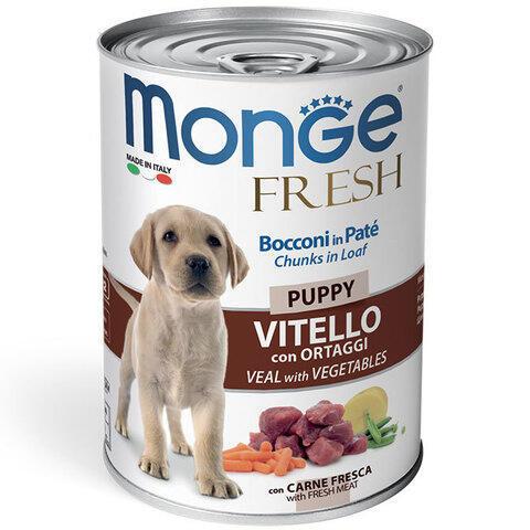 Купить мясной рулет Monge Fresh Chunks Puppy with Veal & Vegetables консервы с телятиной и овощами для щенков всех пород
