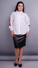 Юсміна. Стильна блуза плюс сайз. Білий.