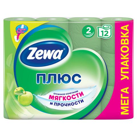 Бумага туалетная Zewa Плюс 2-слойная зеленая с ароматом яблока (12 рулонов в упаковке)