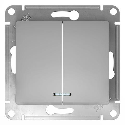 Выключатель двухклавишный с подсветкой, 10АХ. Цвет Алюминий. Schneider Electric Glossa. GSL000353