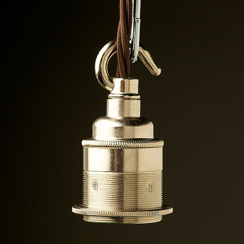 Латунный ретро патрон с крюком (Никель)