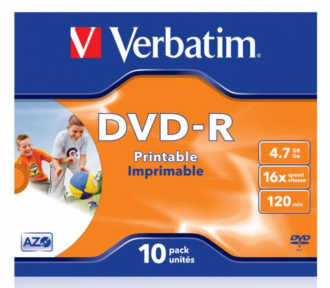 Диск DVD-R Verbatim 4.7Gb 16x Jewel case (10шт) Printable (43521)