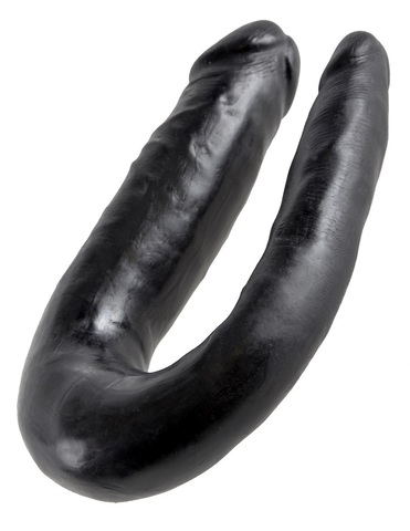 Двойной фаллоимитатор King Cock U-Shaped Small Double Trouble Black