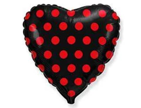 Фольгированный шар сердце Горох на черном