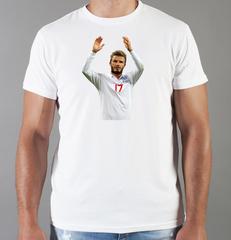Футболка с принтом Дэвид Бекхэм (David Beckham) белая 001
