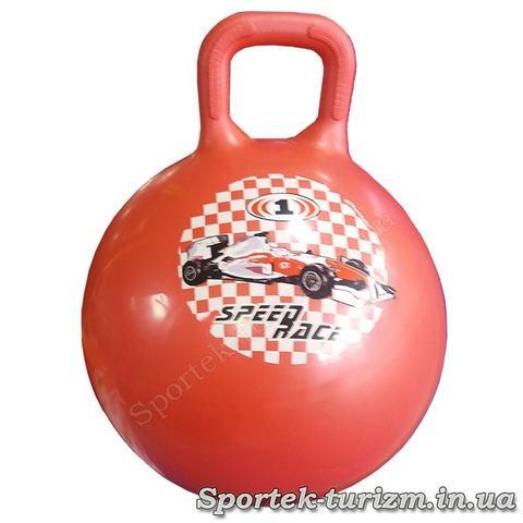 Детский фитбол (мяч для фитнеса) с ручкой диаметром 45 см (красный)