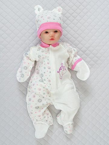 Человечек для новорожденных Baby + колпачок (кремовый/розовый)