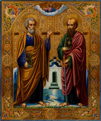 Икона святые Апостолы Петр и Павел на дереве на левкасе мастерская Иконный Дом