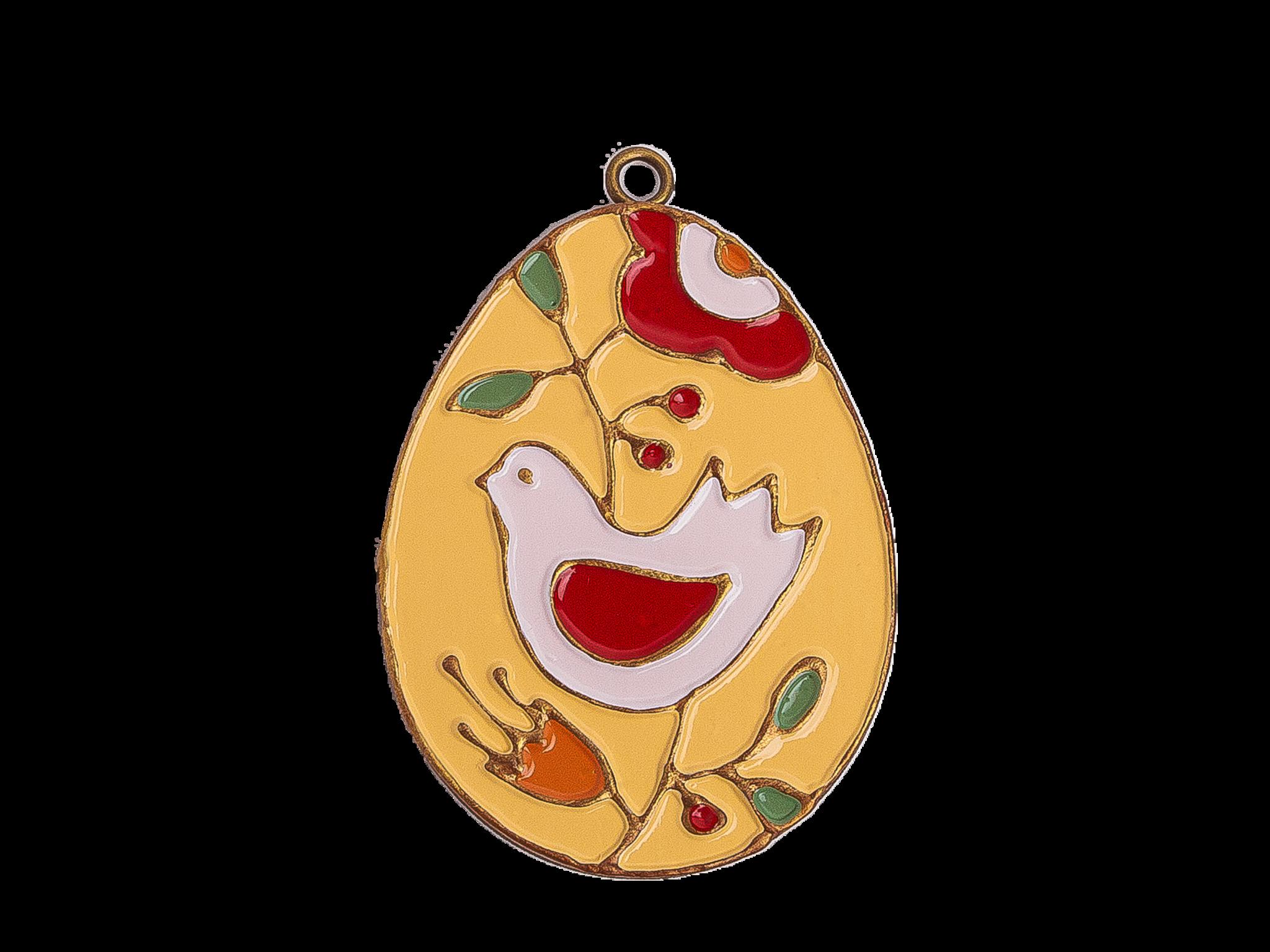 Пасхальное украшение Яйцо с Птицей, цвет: светло-желтый