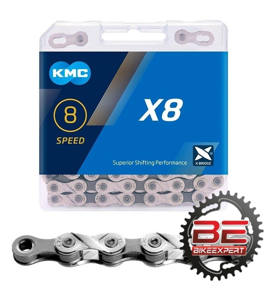 Велосипедная цепь КМС X-8,93 BOX 114 звеньев 8 скоростей
