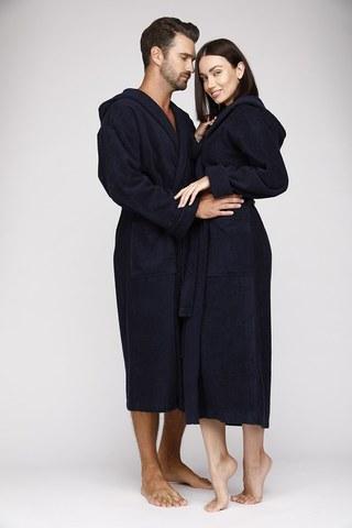 Женский махровый халат с капюшоном 901 синий