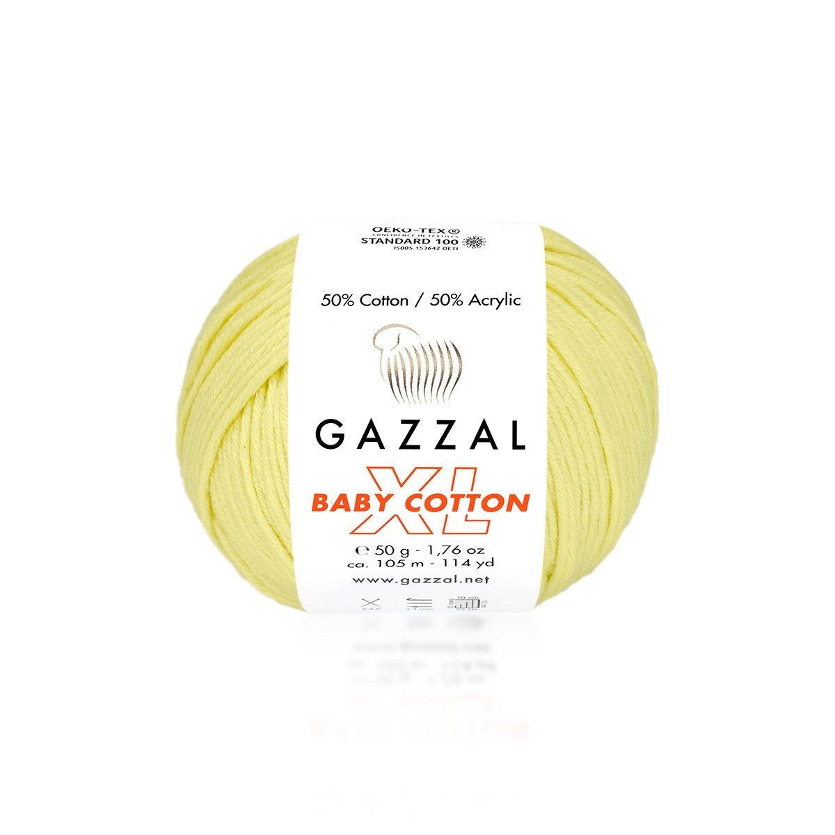 Пряжа Gazzal Baby Cotton XL 3413 светло-желтый